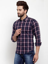 Men Navy Blue Checked Regular Fitted Shirt