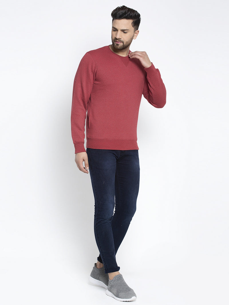 Men Solid Maroon Round Neck Sweatshirt