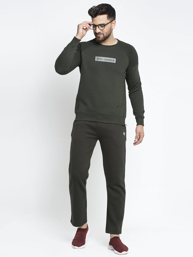 "Men Olive Round Neck ""Stay Humble"" Sweatshirt"