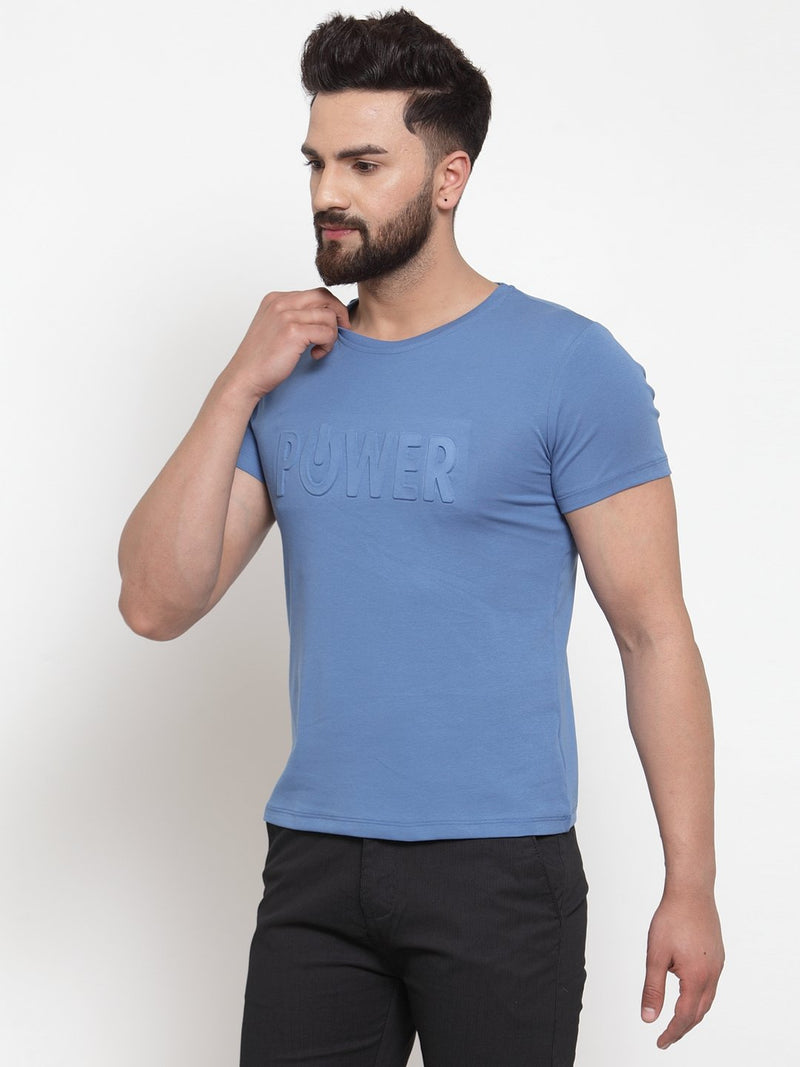 Mens Printed Blue Round Neck T-Shirt