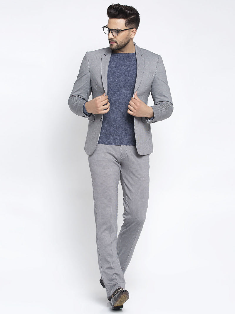 Men Grey Checked 2-Peice Suit