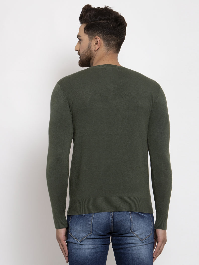 Men Olive Solid V-Neck Pullover