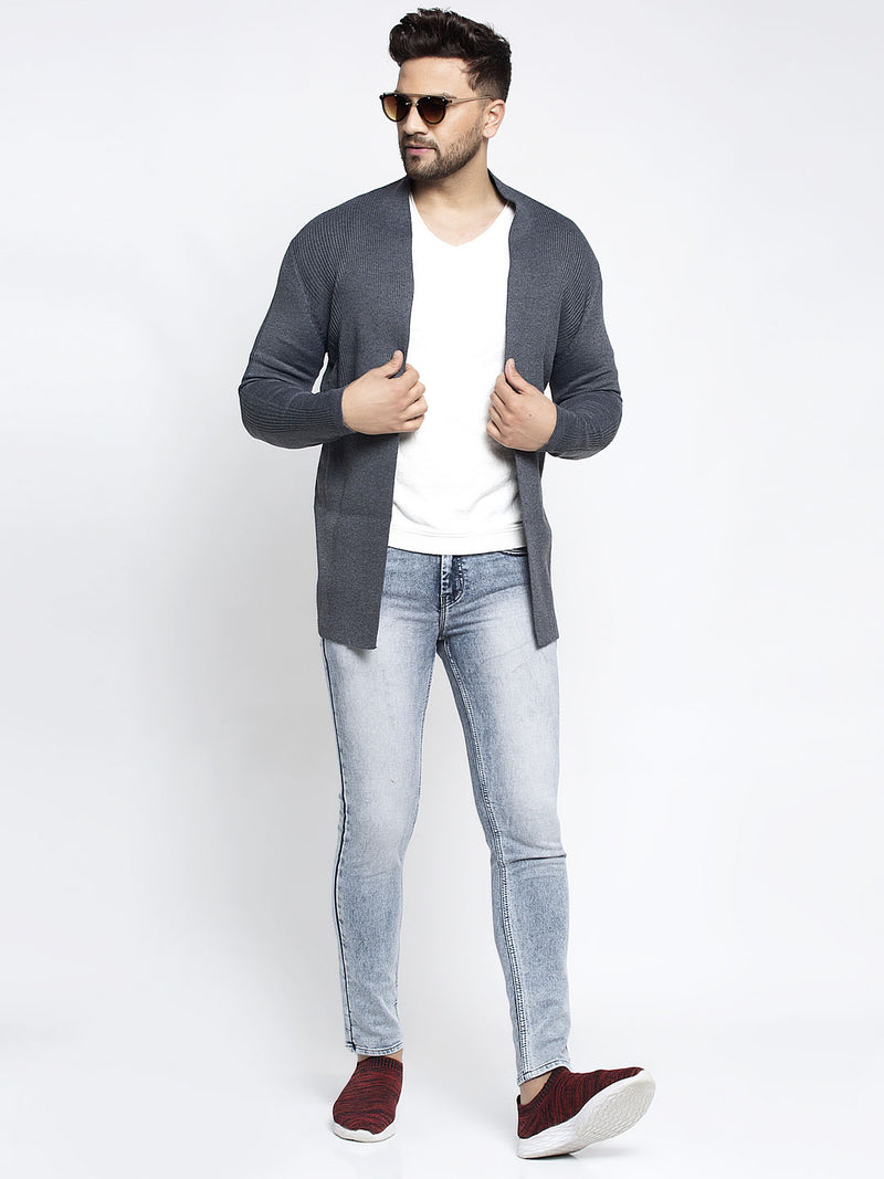 Men Grey Front Open Solid Shrug