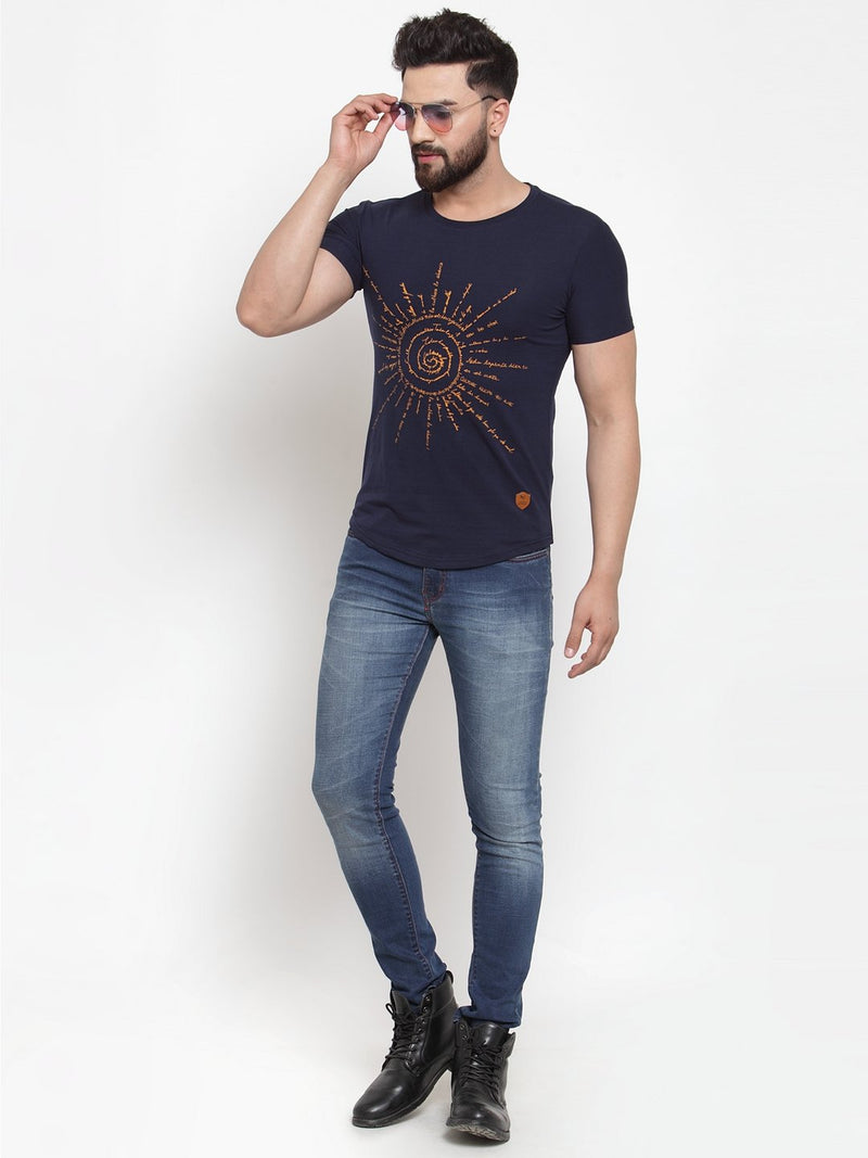 Mens Navy Blue Hosiery Printed T-Shirt