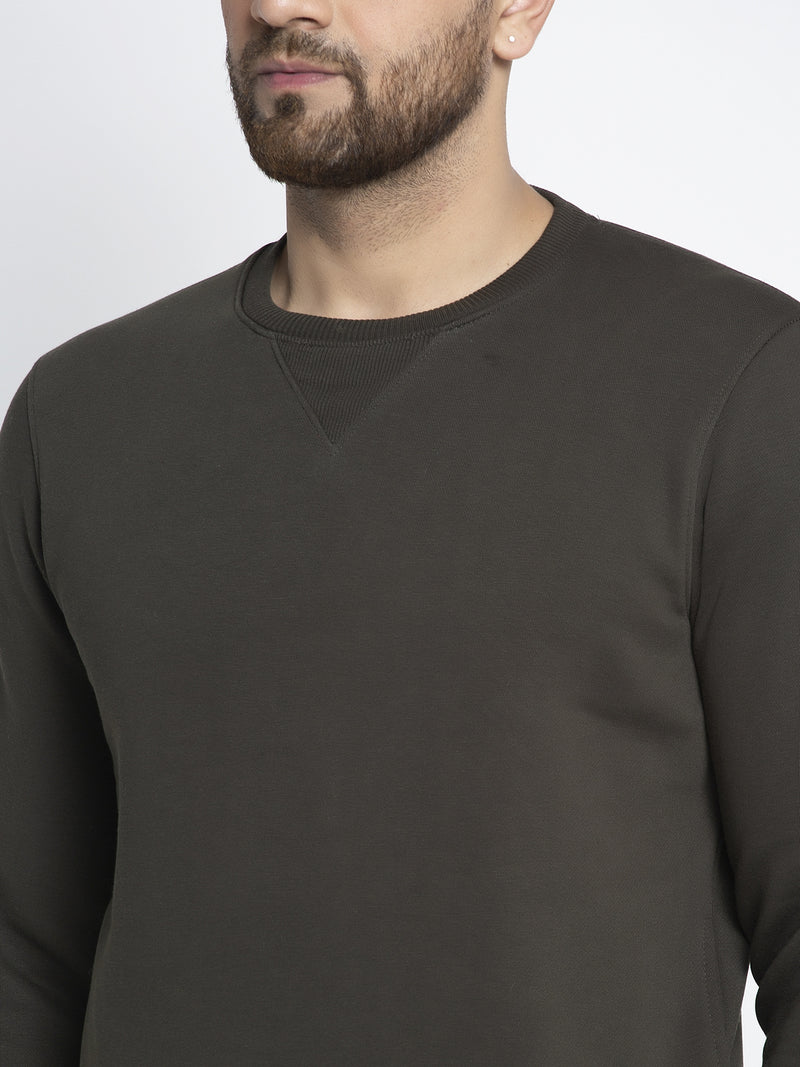 Men Solid Olive Round Neck Sweatshirt