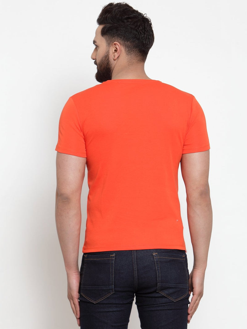 Mens Printed Orange Round Neck T-Shirt