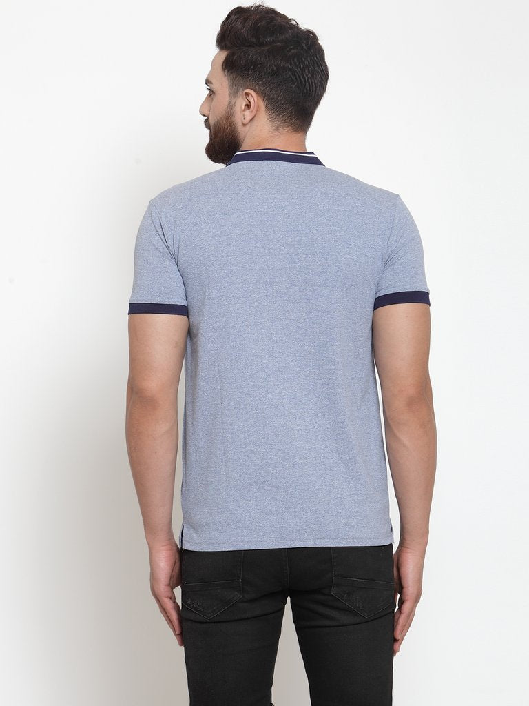Mens Plain Grey And Sky Combo Of 2 T-Shirts