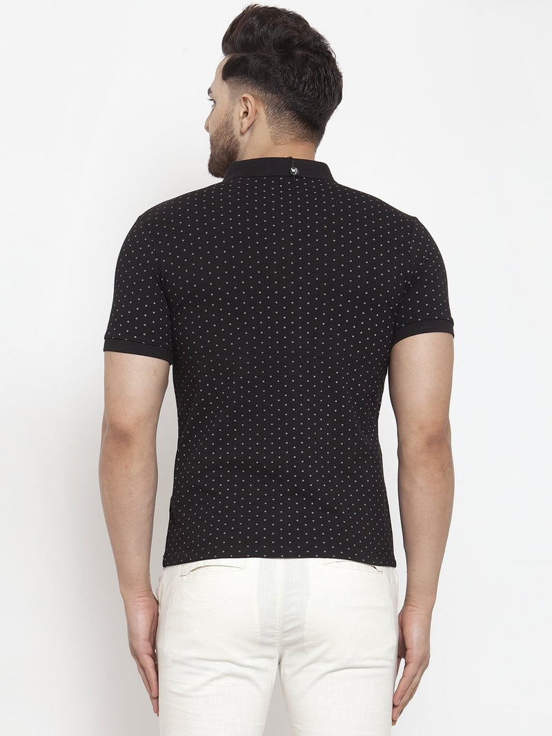 Men Black Polka Dot Printed Polo T-Shirt