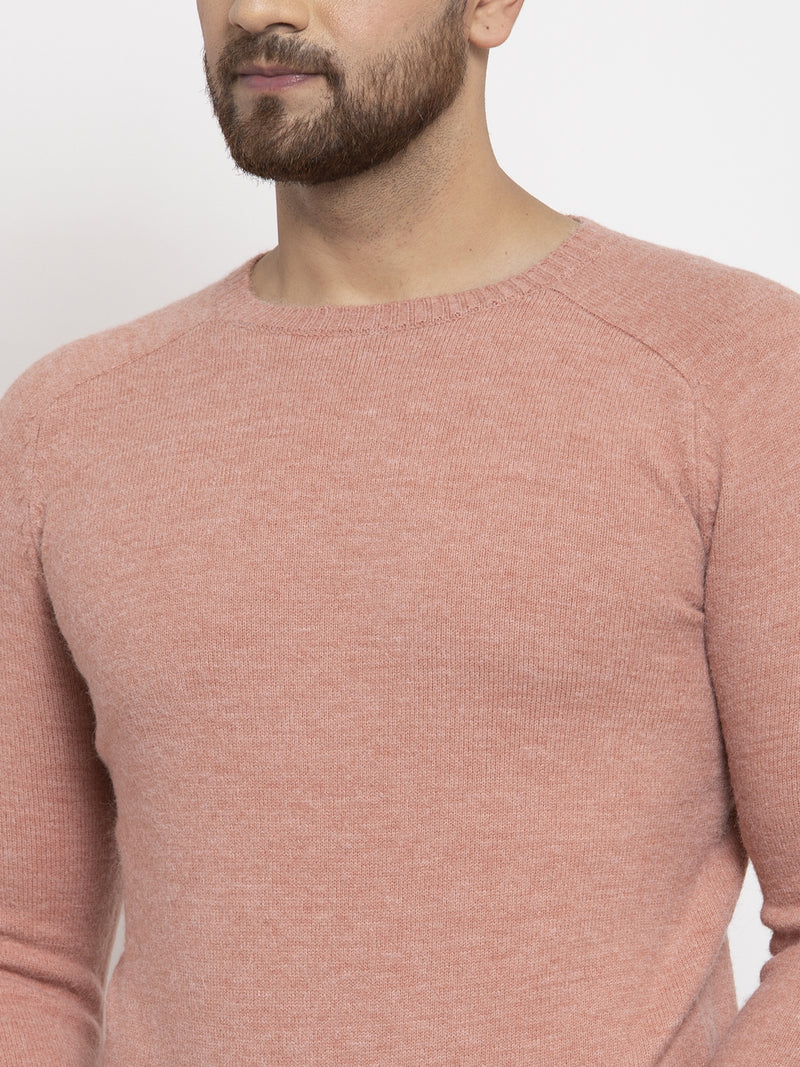Mens Baby Pink Round Neck Solid Alpaca Wool Pullover