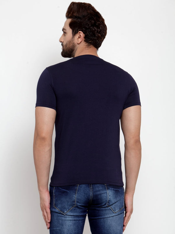 Mens Navy Blue Round Neck Printed T-Shirt