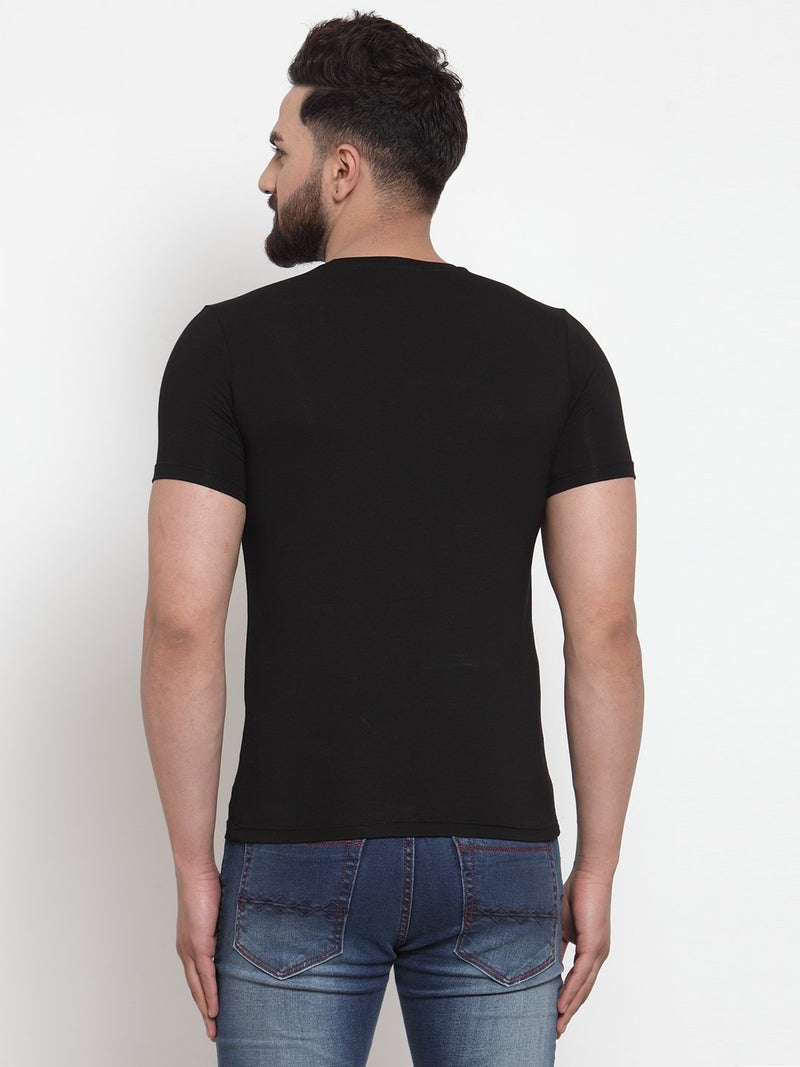 Men Life Quote Printed Black Hosiery T-Shirt