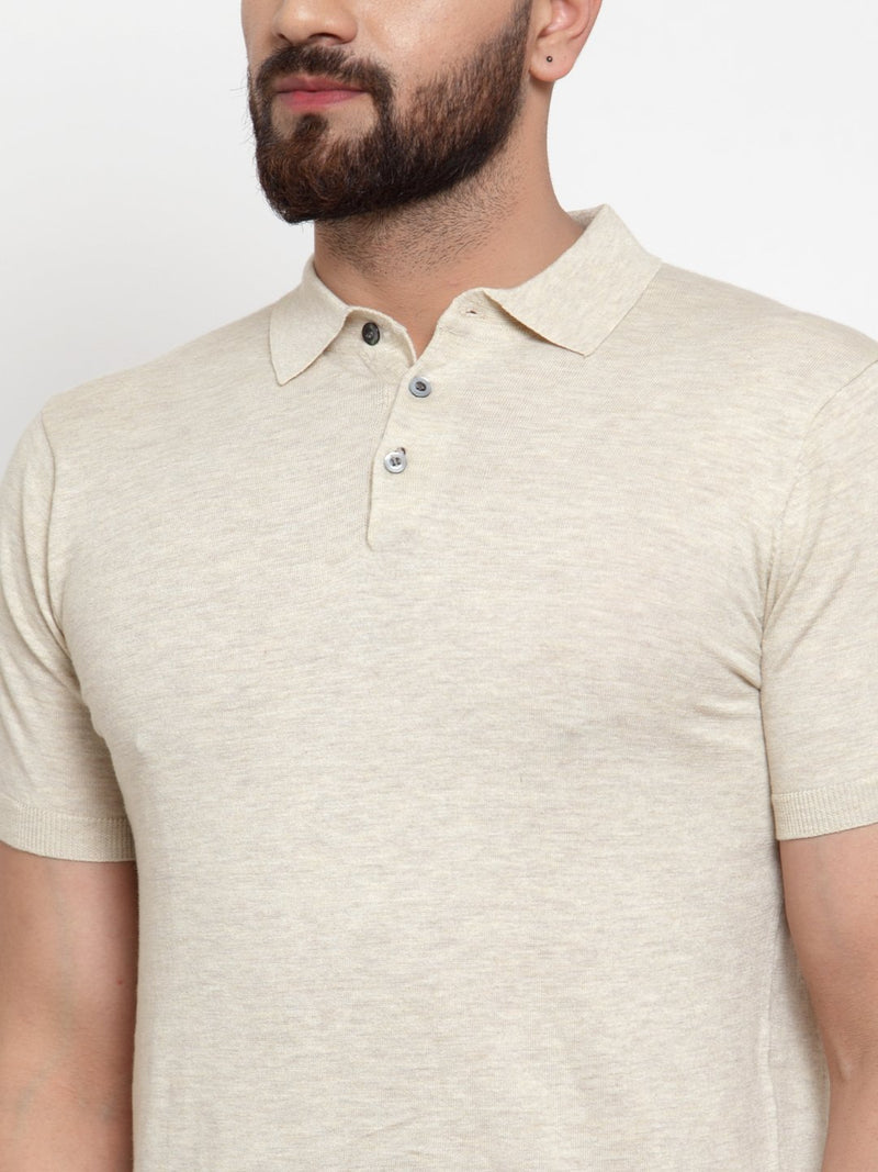 Mens Beige Cotton Solid T-Shirt With Collar