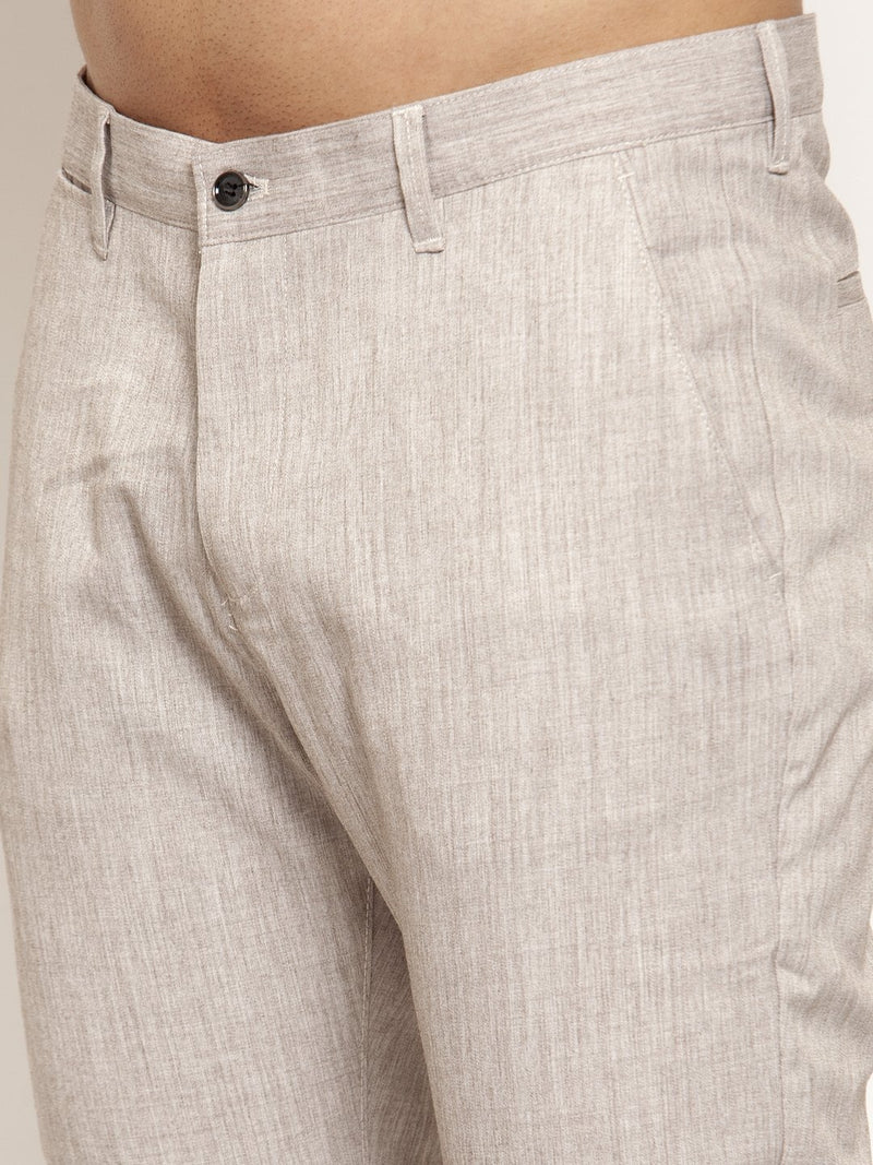 Mens Solid Textured Cream Polyester Trouser