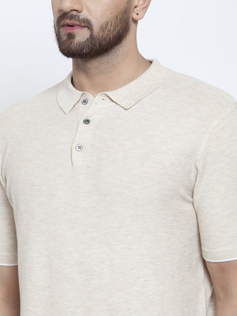 Mens Beige Collar Regular Fit T-Shirt