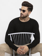 Men Black Solid Round Neck Pullover