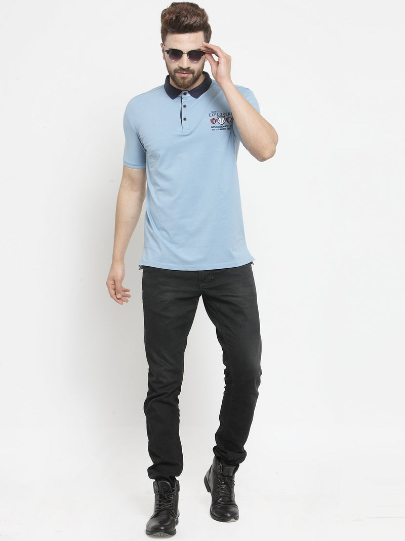 Mens Blue Printed Collar Regular Fit T-Shirt