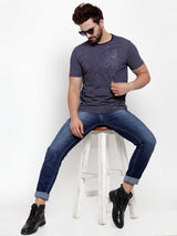 Mens Navy Blue Round Neck Striped T-Shirt