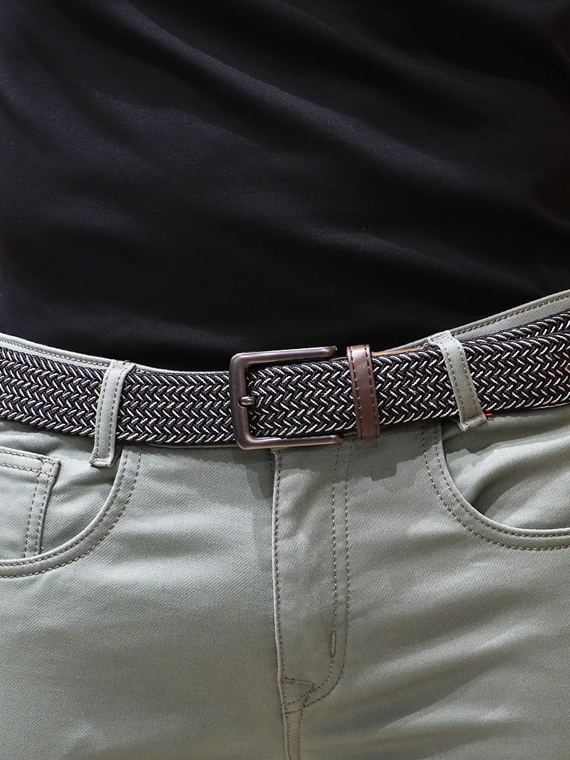 Ebony Black Belt with Bone White Detailing