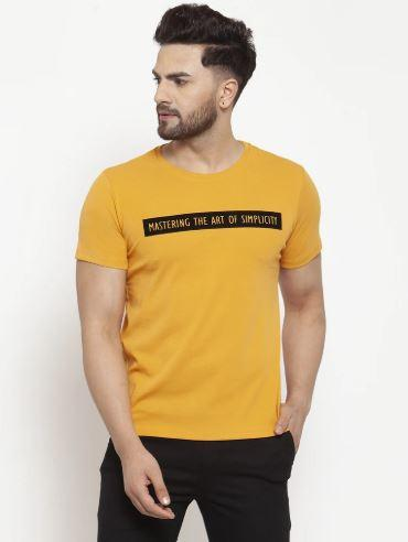 Mens Printed Sky And Mustard Combo Of 2 T-Shirts