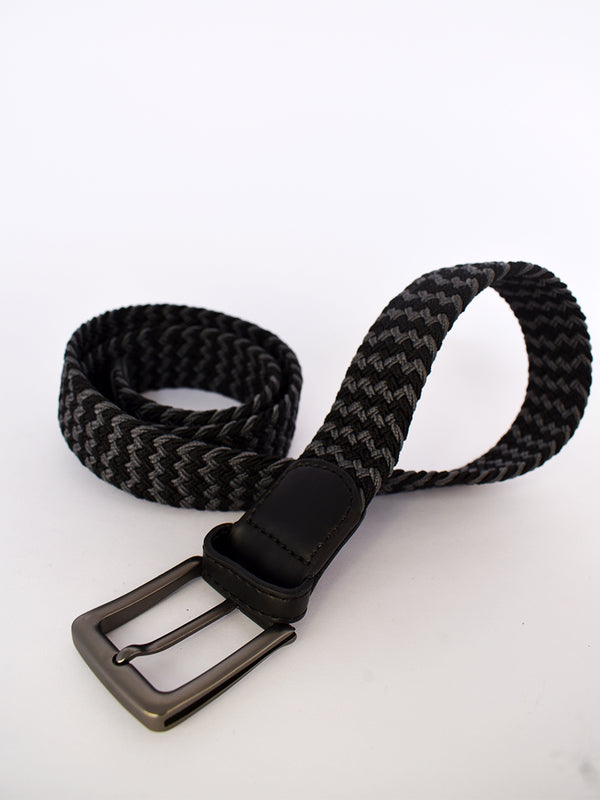 Ebony Black Belt with Steel Grey Detailing