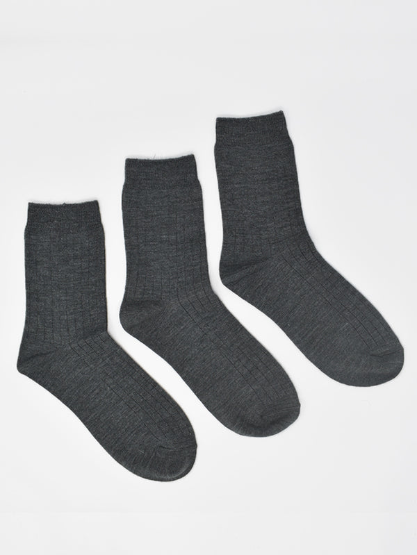 Pack of 3 Grey Wool Solid Socks