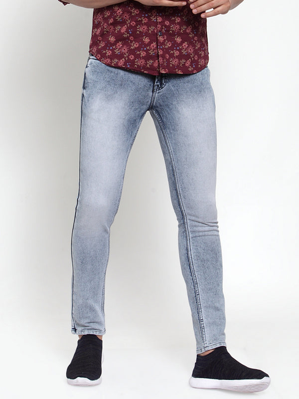 Mens Grey Solid Jeans
