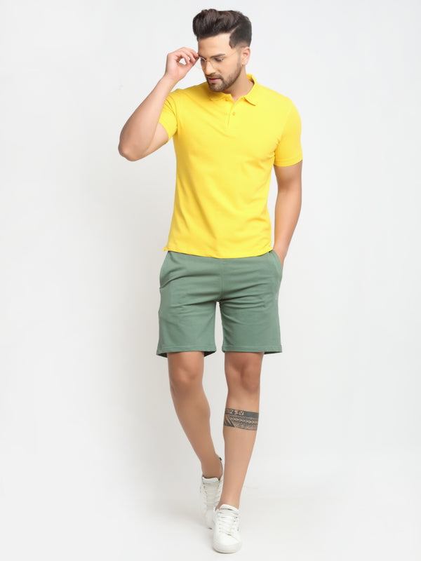 Men Yellow Hosiery Solid T-Shirt