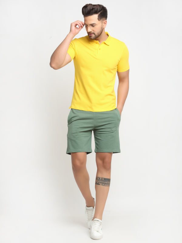 Men Olive Cotton Lycra Solid Shorts