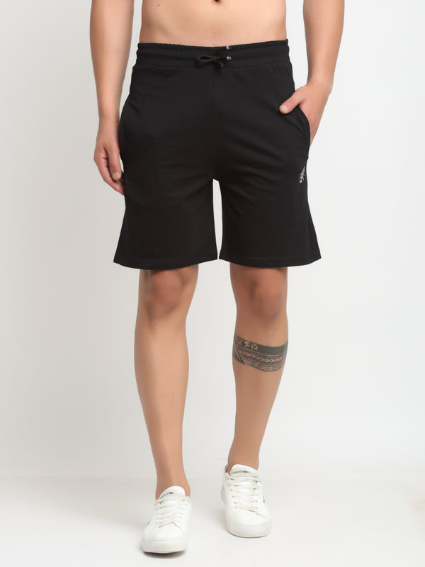 Men Black Cotton Lycra Solid Shorts