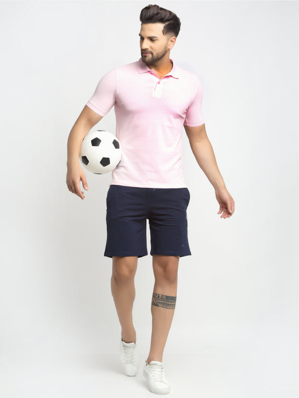 Men Navy Blue Cotton Lycra Solid Shorts