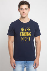 Men Navy Blue Round Neck Printed T-Shirt