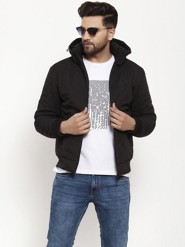 Mens Black Solid Full Sleeve Jacket