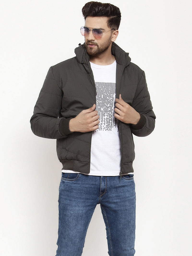Mens Olive Solid Full Sleeve Jacket