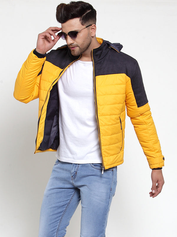 Mens Yellow Hooded Puffer Jacket