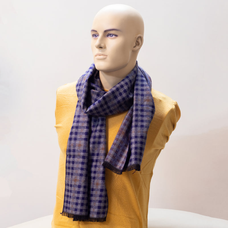 Men Striped Navy Blue Muffler