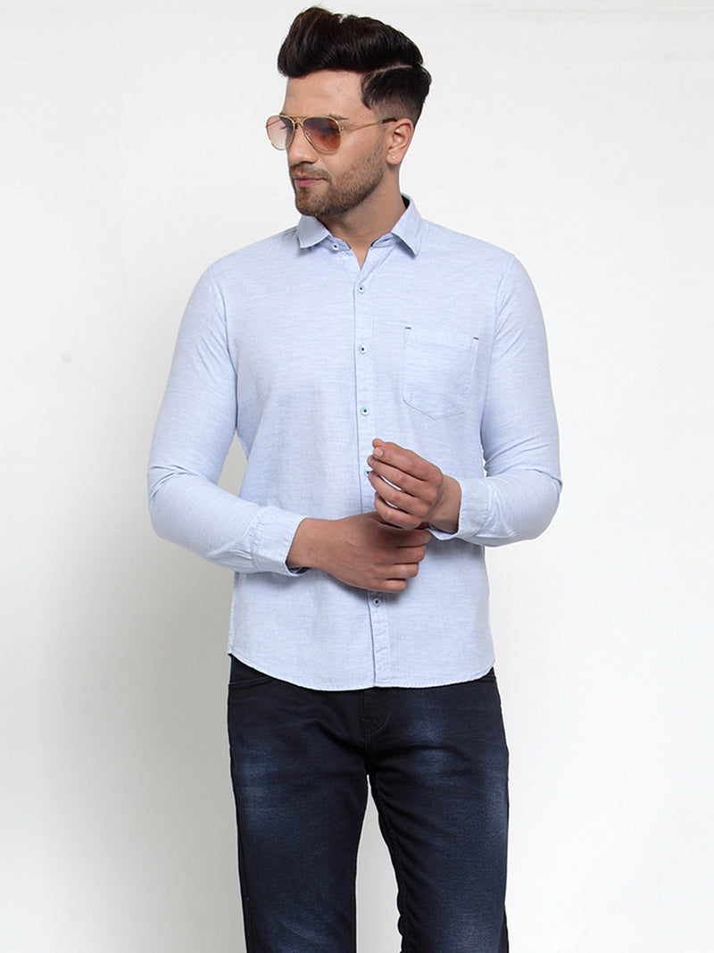 Mens Blue Shirt Collar Solid Shirt
