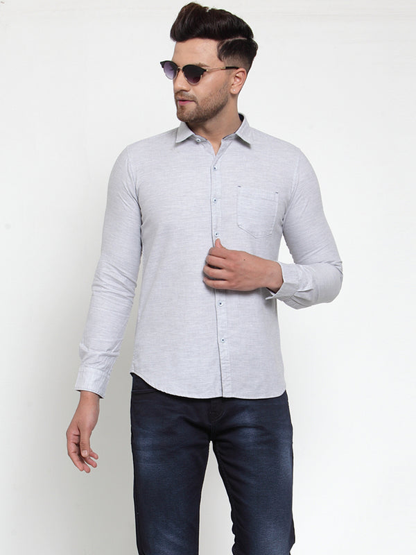 Mens Grey Shirt Collar Solid Shirt