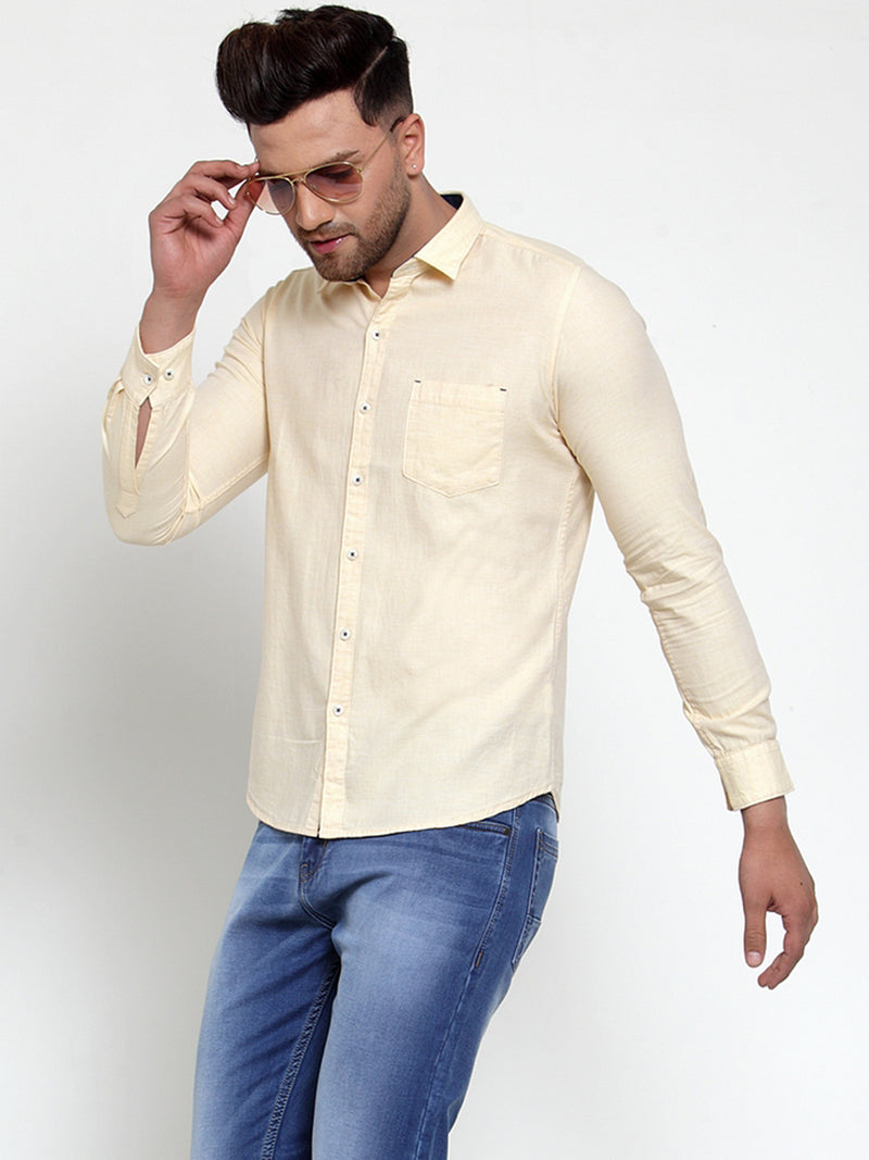 Mens Lime Green Shirt Collar Solid Shirt