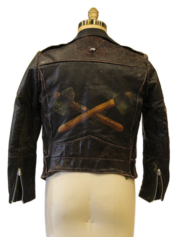 Tomohawk Hand Painted Black Leather Jacket