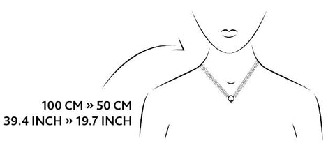 Fantasy necklace size guide illustration.