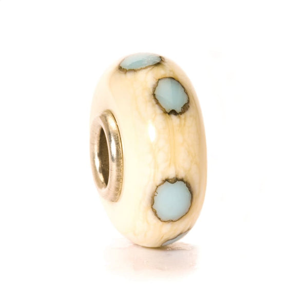 Beige/Blue Dot - Bead/Link