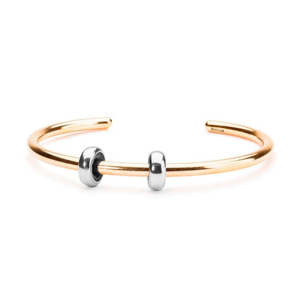 Gold Plated Bangle with 2 x Silver Spacers - BOM Bangle