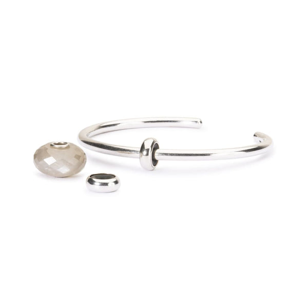 Grey Moonstone Silver Bangle - BOM Bangle