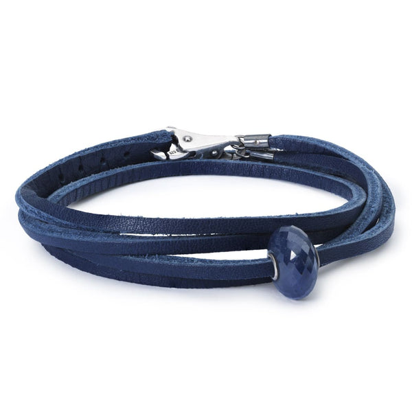 Leather Bracelet Blue with Sapphire Bead and Sterling Silver