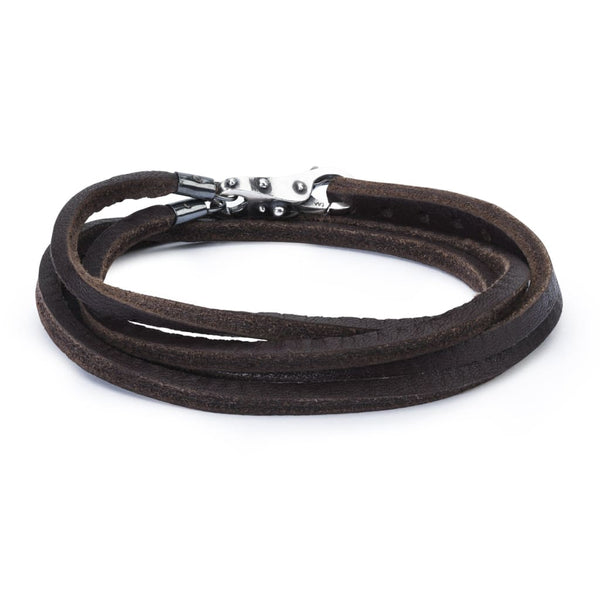 Leather Bracelet Brown with Sterling Silver Lock of Wisdom -