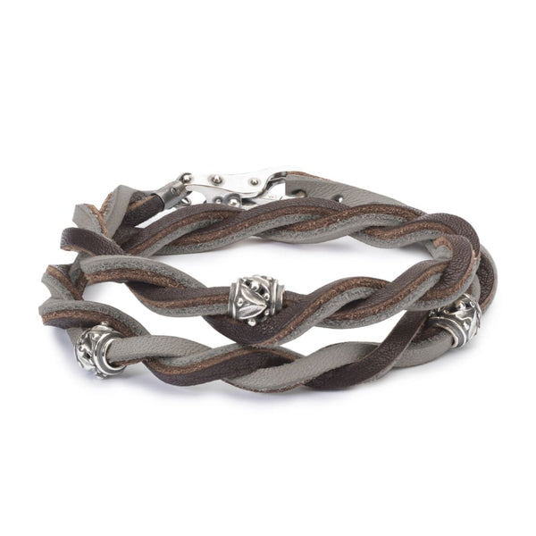 Leather Bracelet Brown/Light Grey - Bracelet