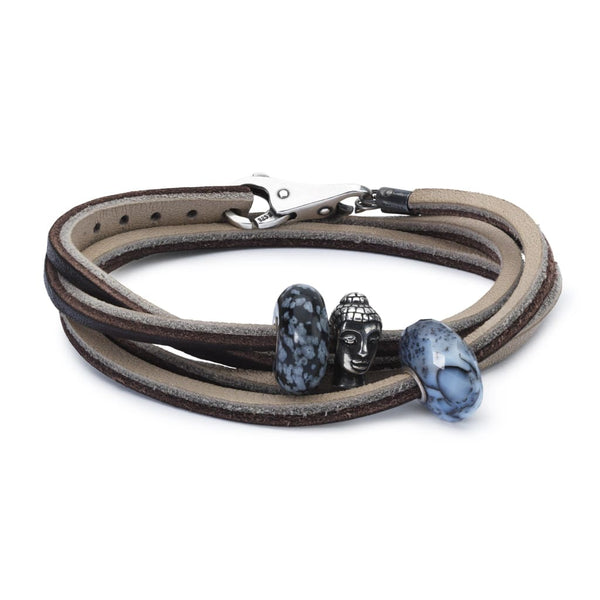 Leather Bracelet Brown/Light Grey with Gemstones and