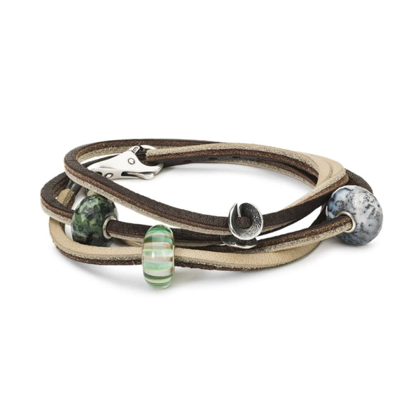 Leather Bracelet Brown/Light Grey with Gemstones Glass and