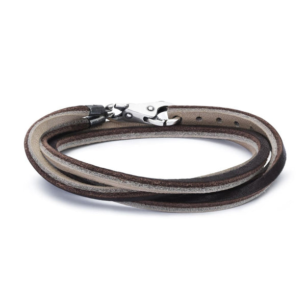 Leather Bracelet Brown/Light Grey with Sterling Silver Plain