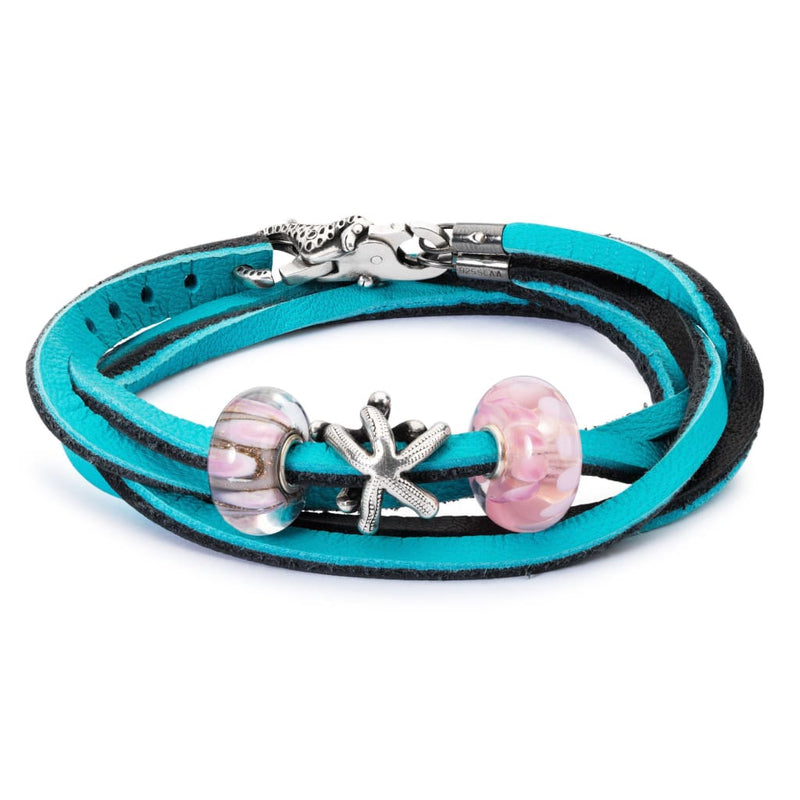 Leather Bracelet Cyan/Key - Bracelet